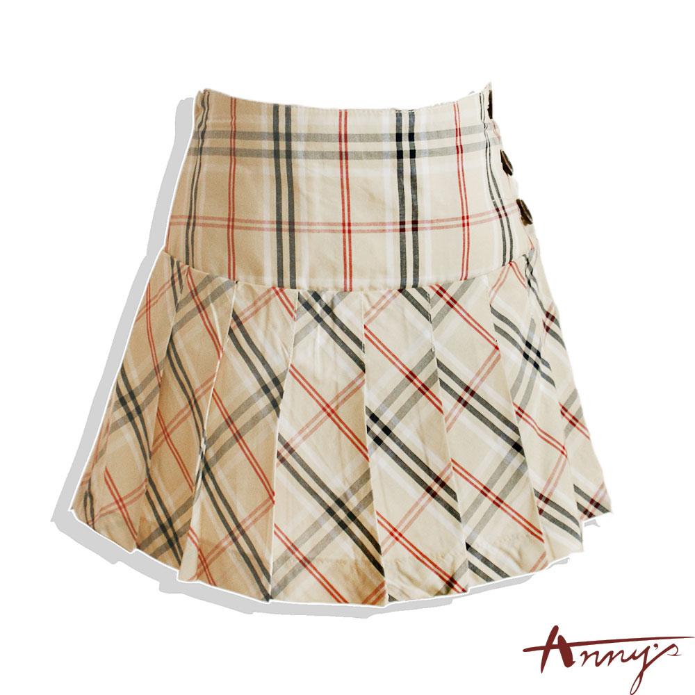 經典格紋百摺側釦短裙*1181卡
