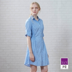 ILEY伊蕾 經典水藍縫珠條紋洋裝(藍)