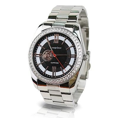 Arseprince 都會時尚立體鑲鑽銀帶中性錶-黑