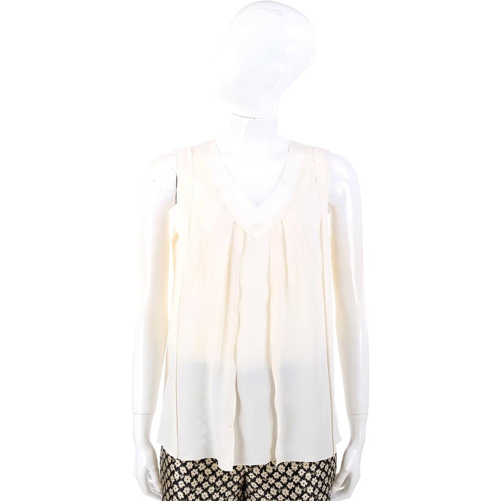 PHILOSOPHY 米白色V領抓褶無袖絲質上衣