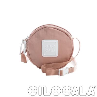 CILOCALA 亮彩尼龍防潑水斜背小圓包  粉色