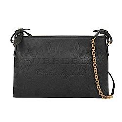 BURBERRY 浮雕皮革斜背兩用包(黑色)