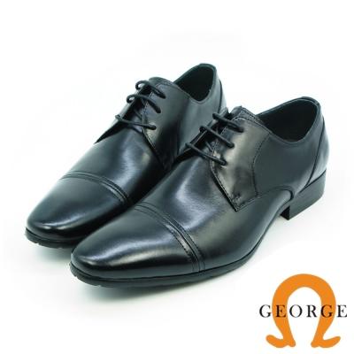GEORGE 喬治-素面橫飾漸層真皮綁帶紳士鞋-黑色