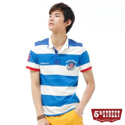 5th STREET POLO衫 率性配色條紋POLO衫-男-藍色