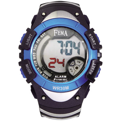 FEMA 炫彩流行 計時鬧鈴 數位運動錶(P308B)-藍/43mm