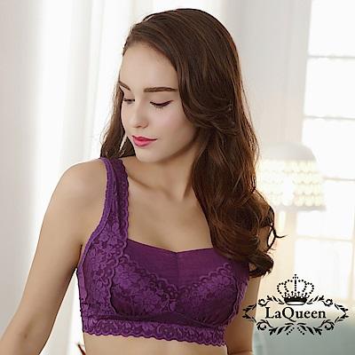 內衣 防擴無痕蕾絲蠶絲無鋼圈內衣-深紫 La Queen