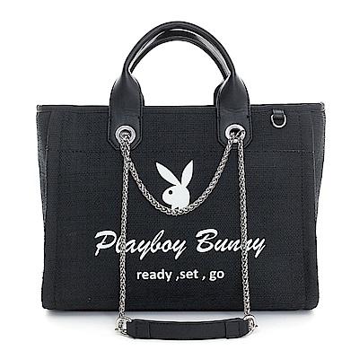 PLAYBOY- 2WAY托特包 Bling Night系列-個性黑