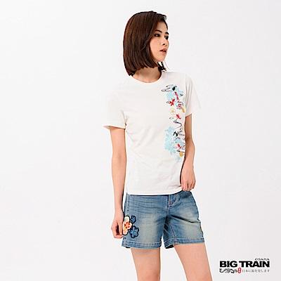 BIG TRAIN 花影金魚短袖女款-女-芽白