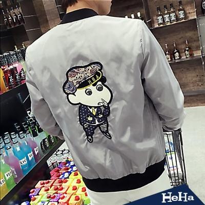 外套 休閒卡通貼布長袖夾克 三色-HeHa