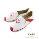 Paidal 海洋水手圖騰電繡紋休閒鞋樂福鞋懶人鞋-紅
