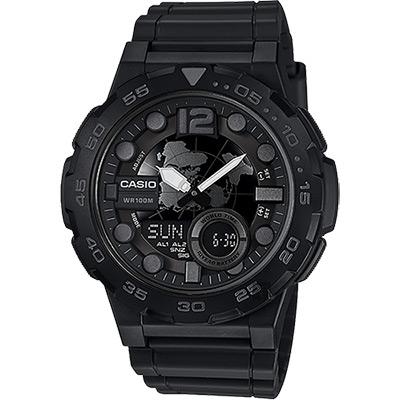CASIO卡西歐 10年電力勁黑地圖錶-52.5mm