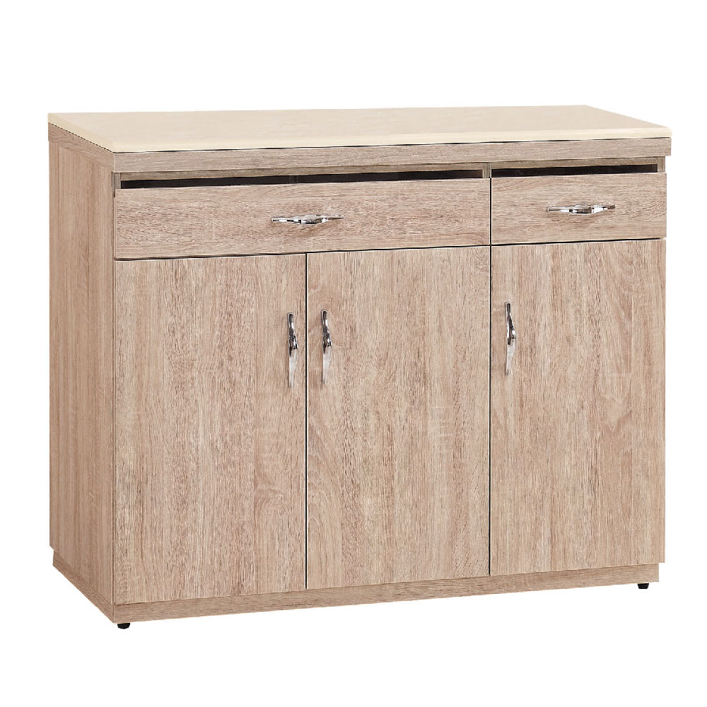 品家居 蘿菈4尺橡木紋石面餐櫃-121.4x41.5x84cm免組