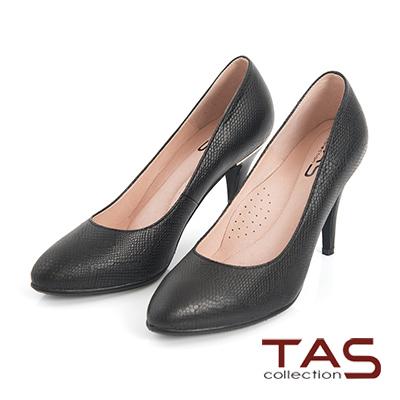 TAS-蛇紋壓紋牛皮金屬拼接高跟鞋-簡約黑