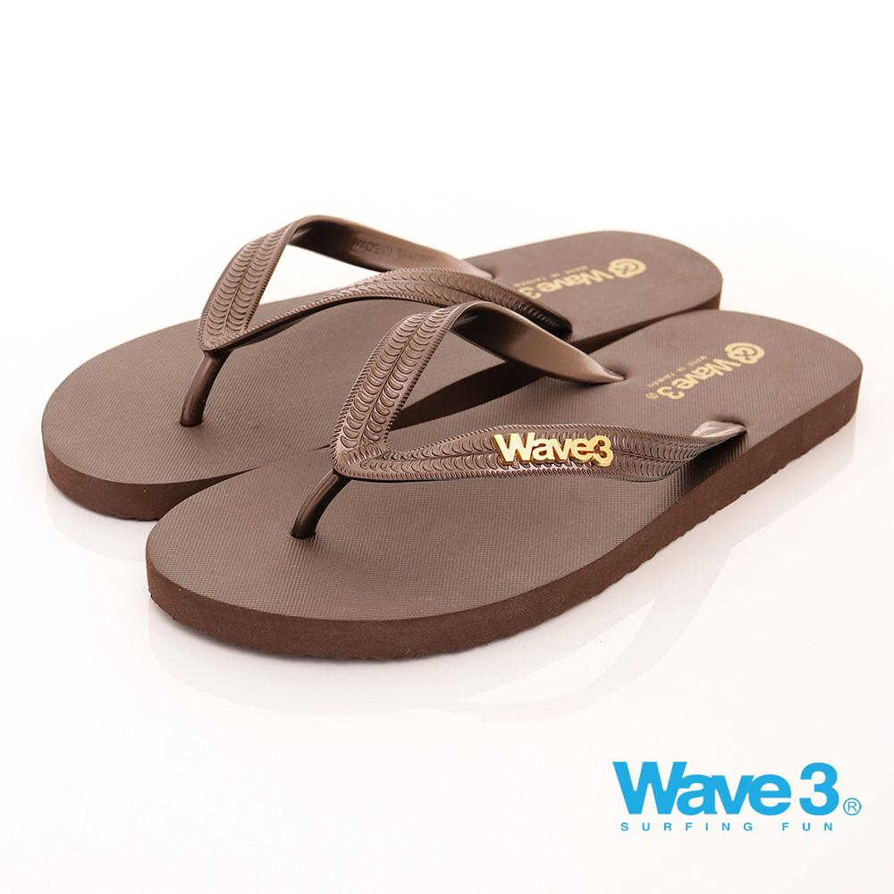 WAVE3【男】台灣製男款金屬LOGO人字拖-咖啡17101302