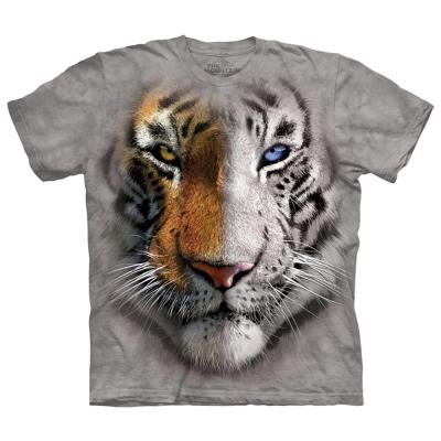 摩達客-美國進口The Mountain 陰陽眼白虎 純棉環保短袖T恤