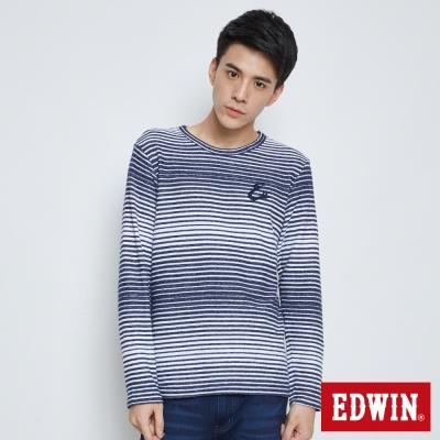 EDWIN E字藍白條紋長袖T恤-男-丈青