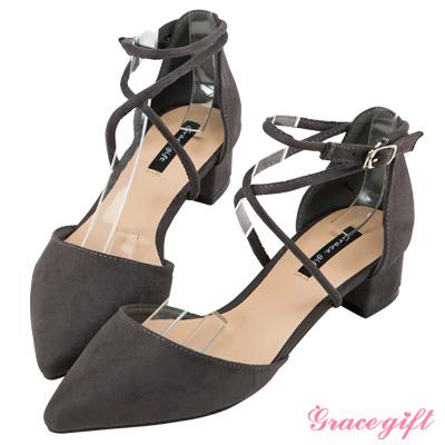 Grace gift-交叉繞踝優雅跟鞋 灰