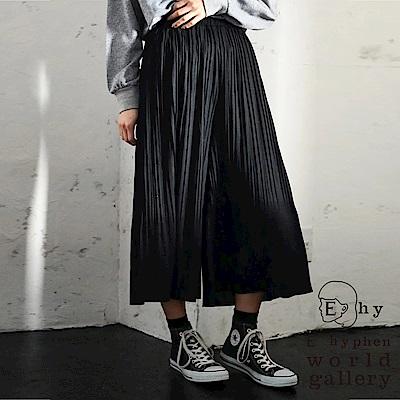 E-hyphen-鬆緊腰際垂墜細褶寬褲裙