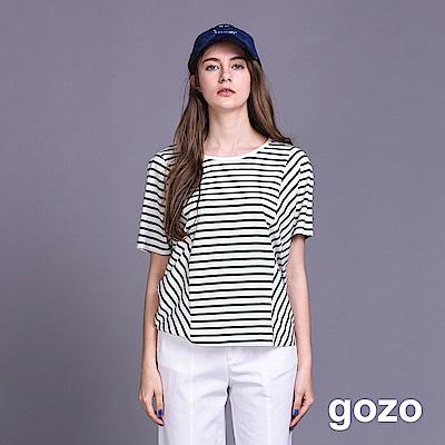 gozo 裁片拼接圓領條紋棉質上衣(二色)
