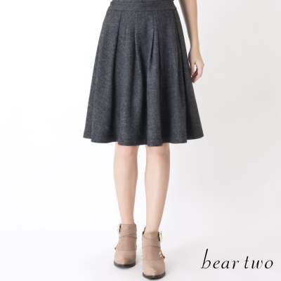 beartwo-保暖羊毛百褶傘擺及膝裙-灰黑色