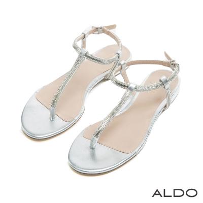 ALDO 閃耀動人T字鑲嵌水鑽金屬釦帶涼鞋~奢華銀色
