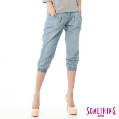 SOMETHING NEO縮口七分牛仔褲-女-漂淺藍
