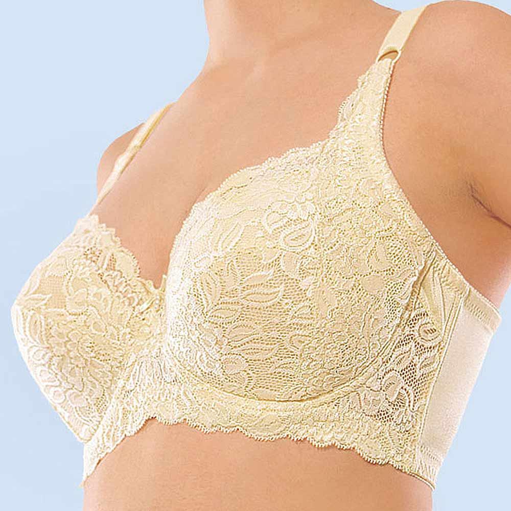 超值3件組【Gennie's奇妮】3S蕾絲調整型全罩內衣-鵝黃(塑型專用)(A139)