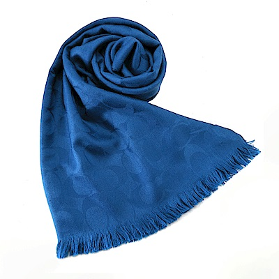 COACH 經典滿版LOGO羊毛混絲針織披肩圍巾(寶藍)