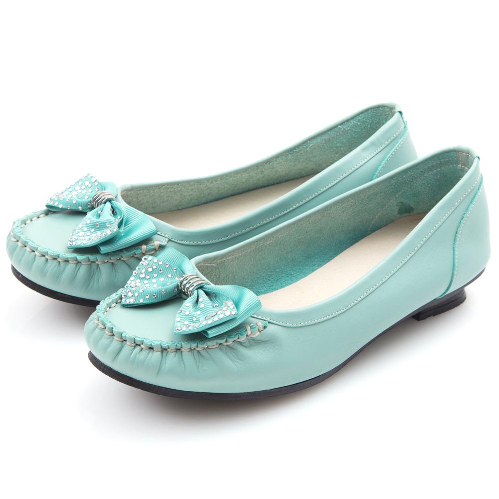 G.Ms. MIT系列-燙鑽蝴蝶結莫卡辛低跟鞋-淺藍