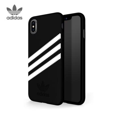 adidas iPhone X 經典款麂皮手機殼 經典三條紋 黑白