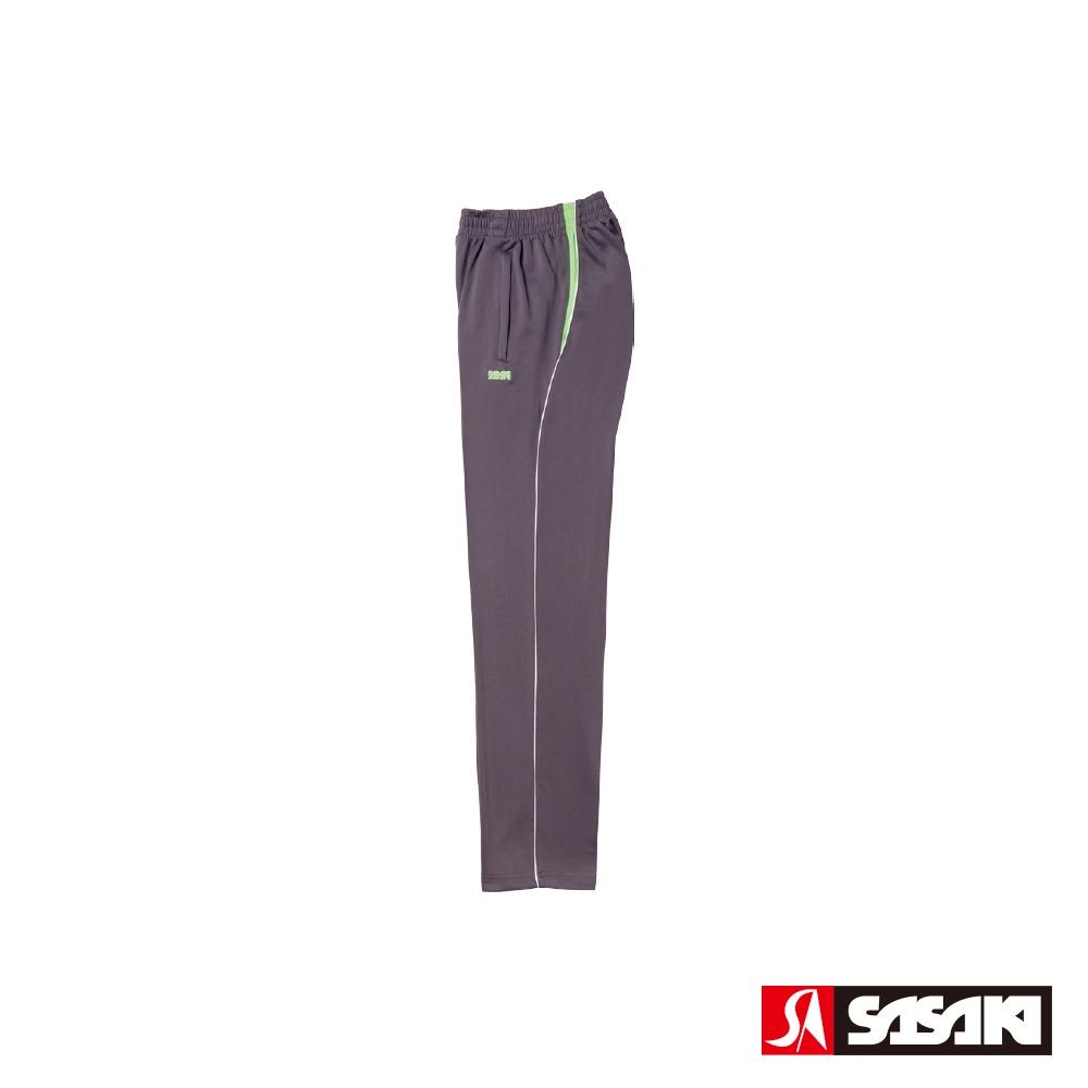 SASAKI 快速排汗伸縮功能針織運動長褲-男-深灰/豔綠