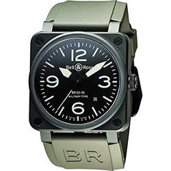 Bell & Ross Aviation 軍事飛行陶瓷機械腕錶-軍綠/42mm