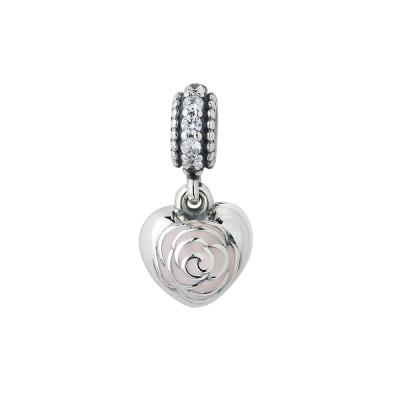 Pandora 潘朵拉 粉紅塘瓷花朵刻字愛心垂飾