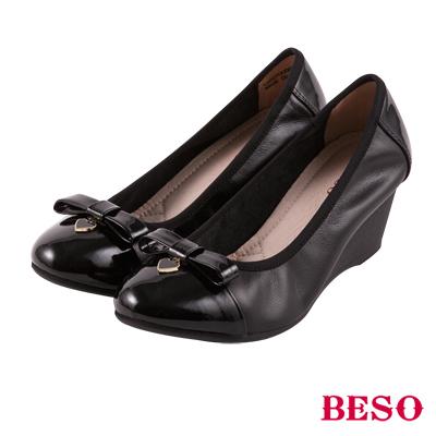 BESO 優雅甜心 全真皮蝴蝶結楔型底娃娃鞋~黑