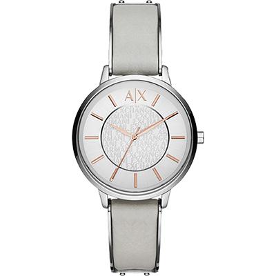 A│X Armani Exchange 優雅時刻腕錶-銀x灰/38mm