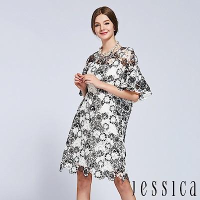 JESSICA - 華麗花朵蕾絲造型洋裝