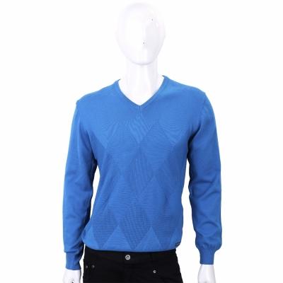 TRUSSARDI 藍色菱格織紋長袖針織衫