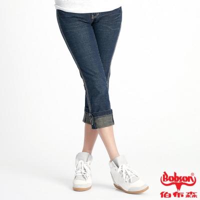 BOBSON 女款反褶七分褲(藍136-52)