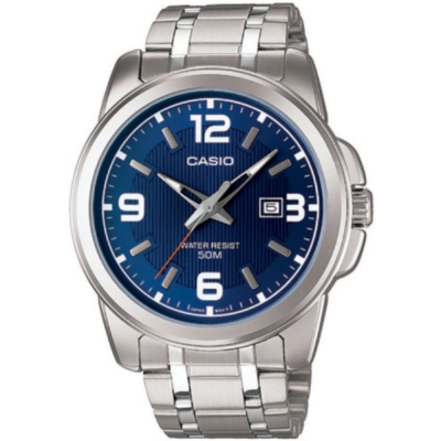 CASIO 簡約經典時尚指針日曆腕錶(MTP-1314D-2)藍面/44.9mm