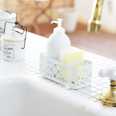【YAMAZAKI】Kirie典雅雕花用品架-白★浴室收納/收納架/居家收納