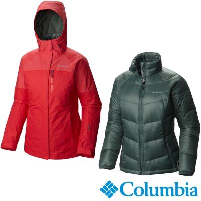 【Columbia哥倫比亞】女-兩件式防水保暖羽絨外套-紅 UWL71690RD