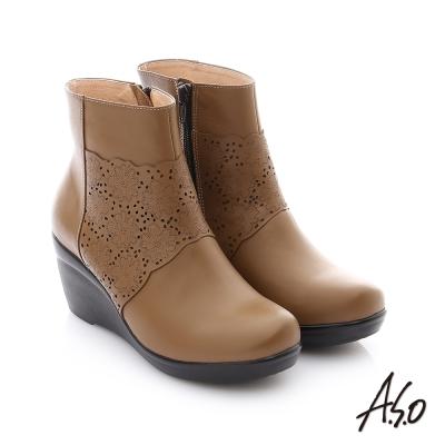 A.S.O 紓壓氣墊 真皮鏤空花紋奈米楔型鞋 卡其色