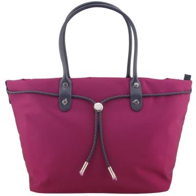 agnes b. VOYAGE尼龍麻繩束袋手提包(大/紫紅)
