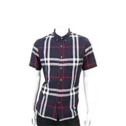 BURBERRY 格紋棉麻混紡短袖襯衫(男款/海軍藍)