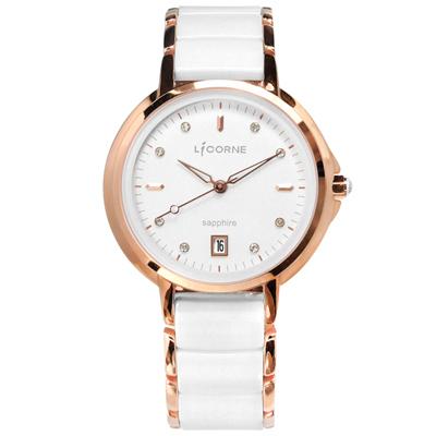 LICORNE力抗 晶鑽刻度日期藍寶石水晶防水不鏽鋼陶瓷手錶-銀白x鍍玫瑰金/36mm