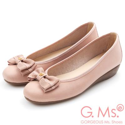 G.Ms. MIT系列-打蠟牛皮織帶蝴蝶結小坡跟鞋-粉色