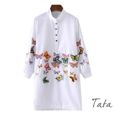 立領蝴蝶刺繡洋裝-TATA