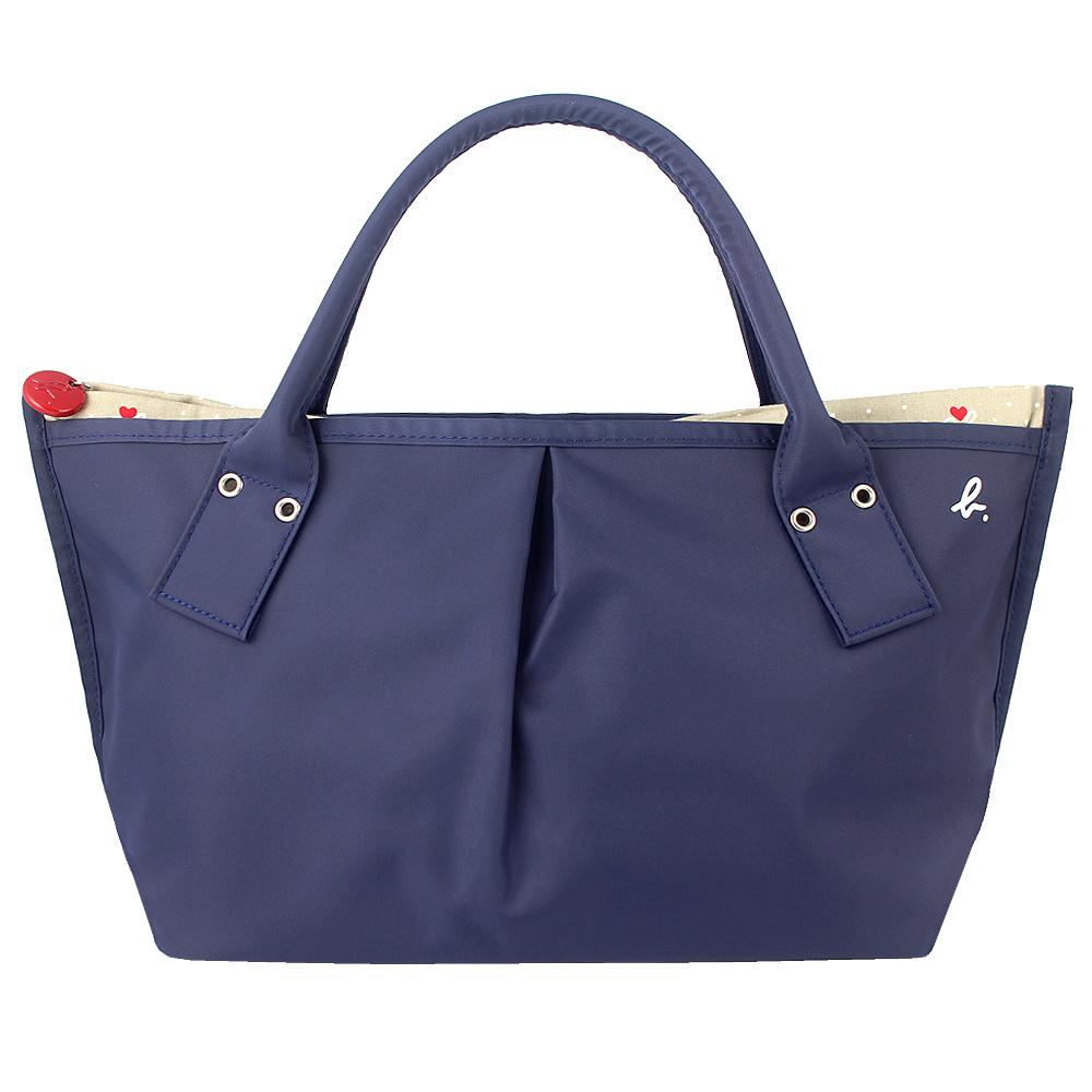 agnes b.藍色ab愛心拉鍊灰色內裡水餃包小日本製