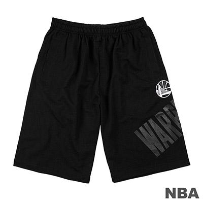 NBA-金州勇士隊單色印花棉質短褲-黑 (男)