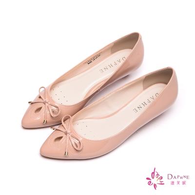 達芙妮DAPHNE-輕盈淑女蝴蝶結尖頭低跟鞋-浪漫粉